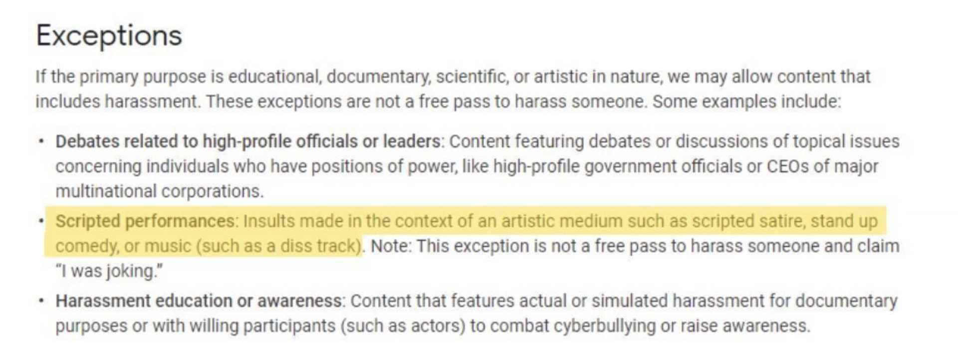 Screenshot of YouTube's policies which protect Diss Tracks.