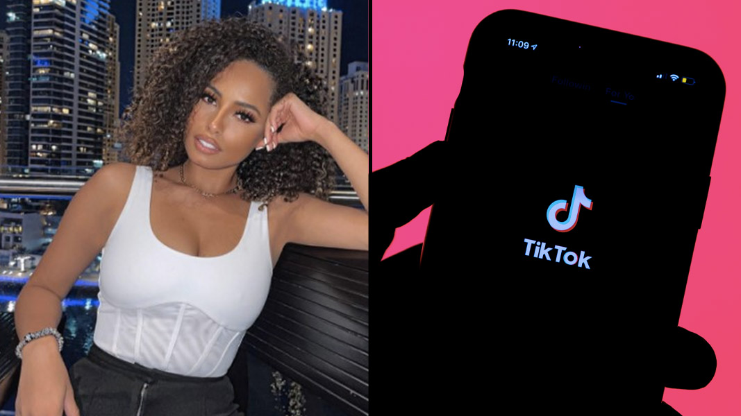 Amber Rose Gill and TikTok logo on a phone