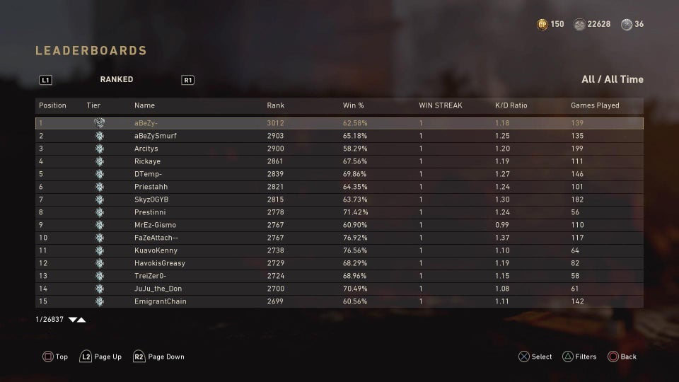 cod wwii leaderboards