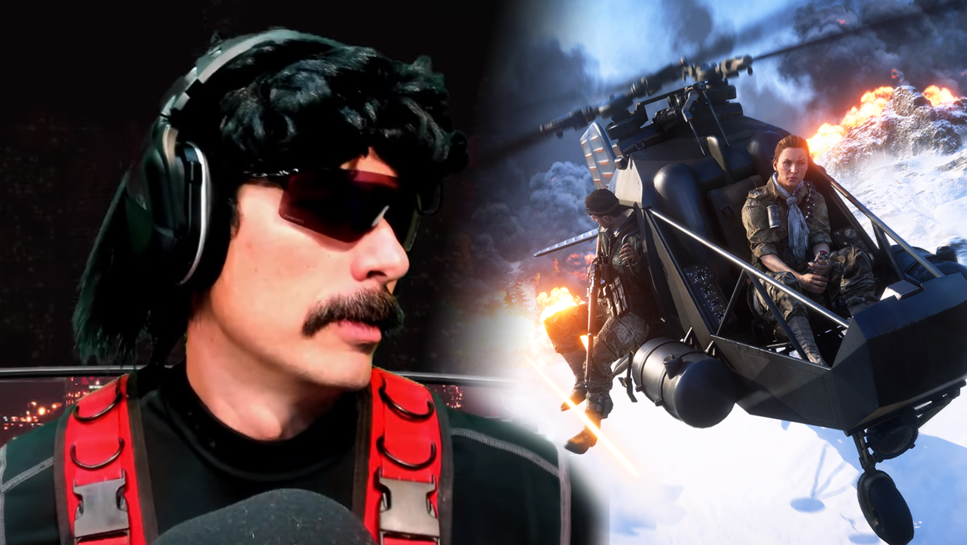 Dr Disrespect looking at Battlefield