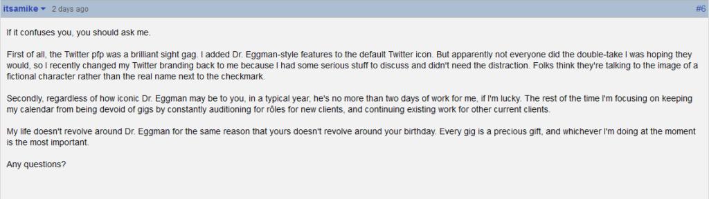 Dr Eggman voice actor comments on GameFaqs