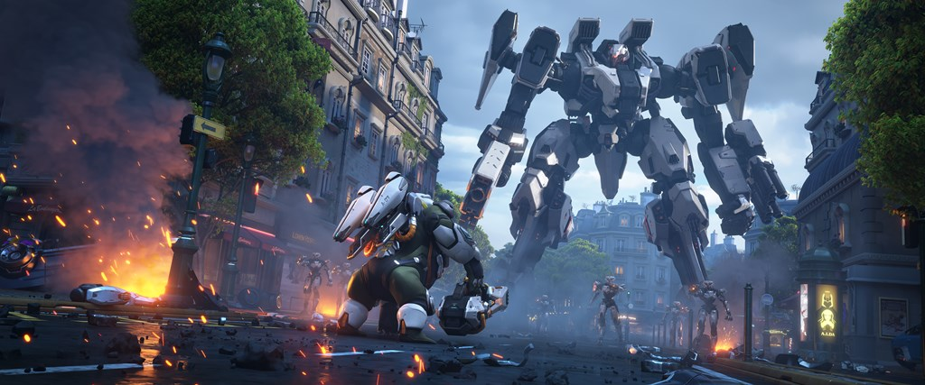 Winston stares down a large mech attacking Paris