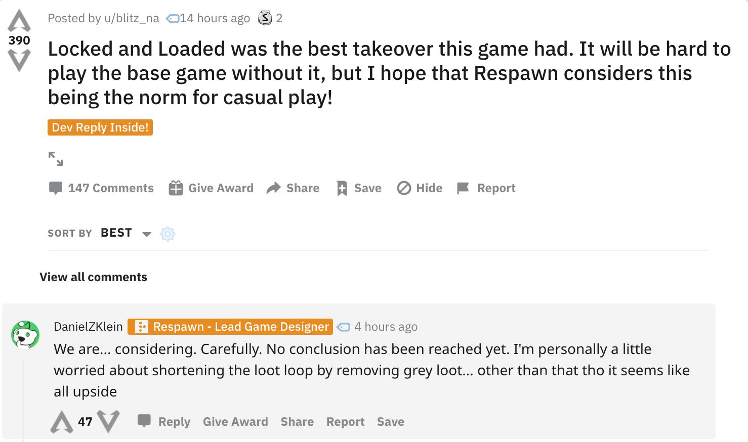 Modifiche bloccate e caricate permanenti in Apex Legends