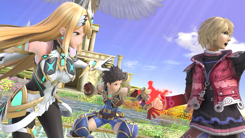 Pyra and Mythra attack with Rex and Shulk