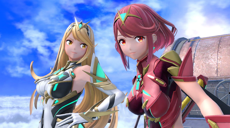 Pyra and Mythra pose in Smash