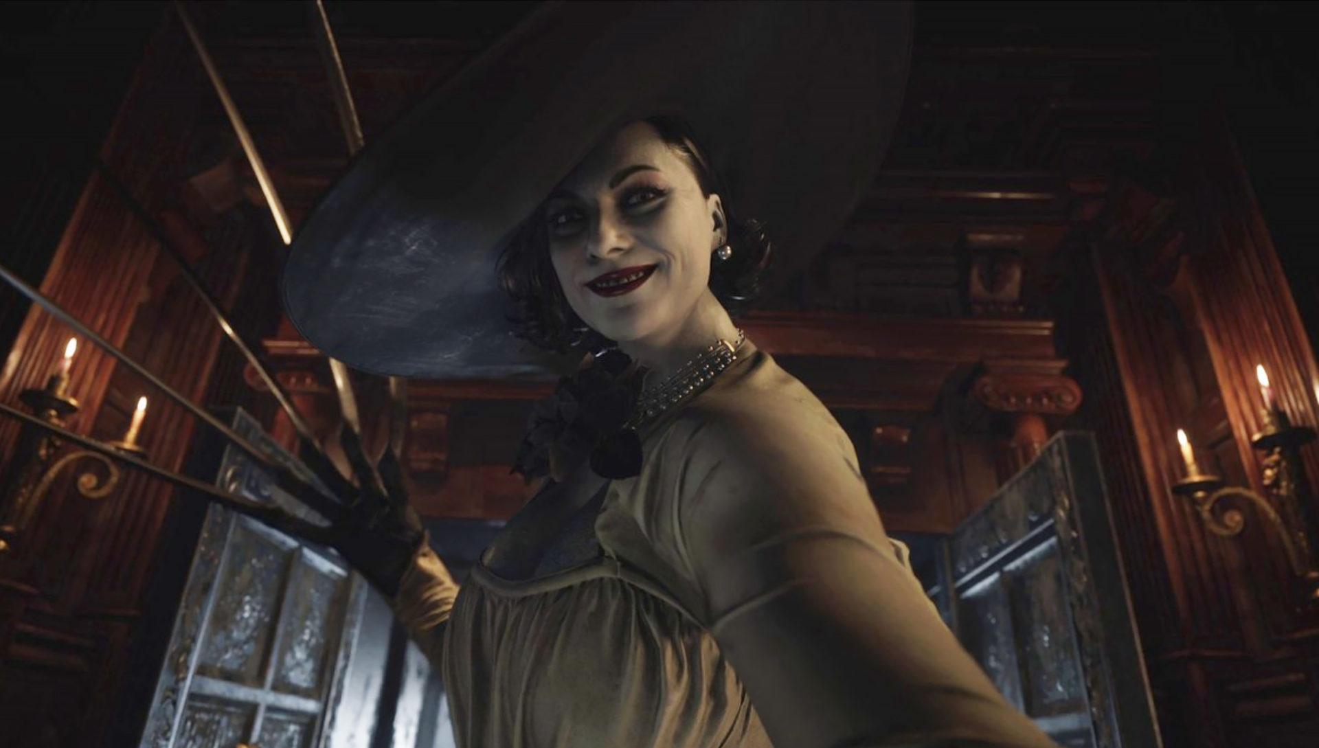 Screenshot of Alcina Dimitrescu in Resident Evil Village trailer.