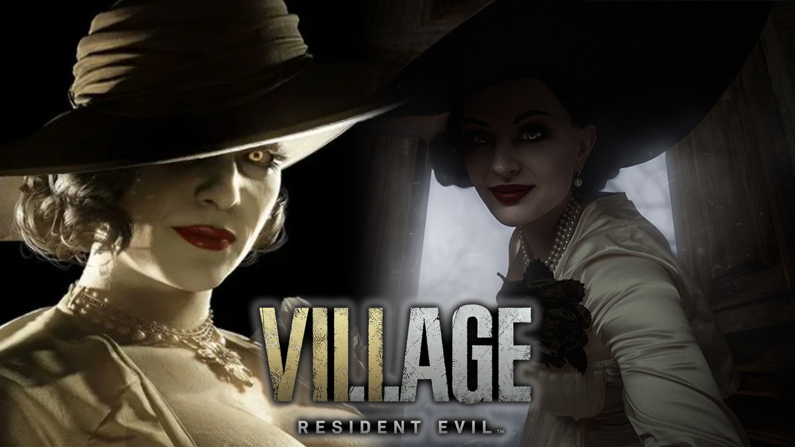 Screenshot of tall vampire lady from Resident Evil Village next to cosplayer.