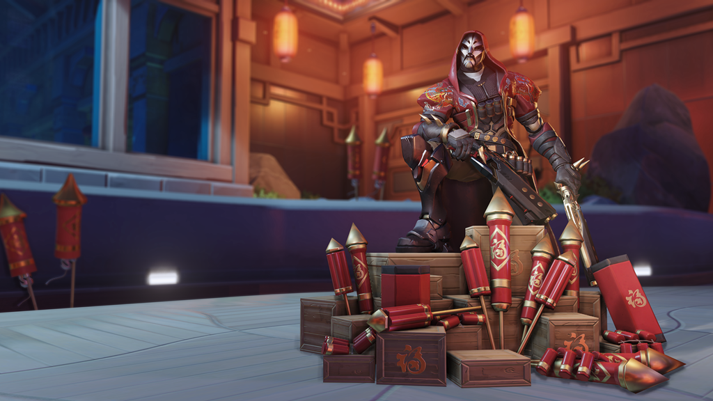 Reaper poses with a box of fireworks