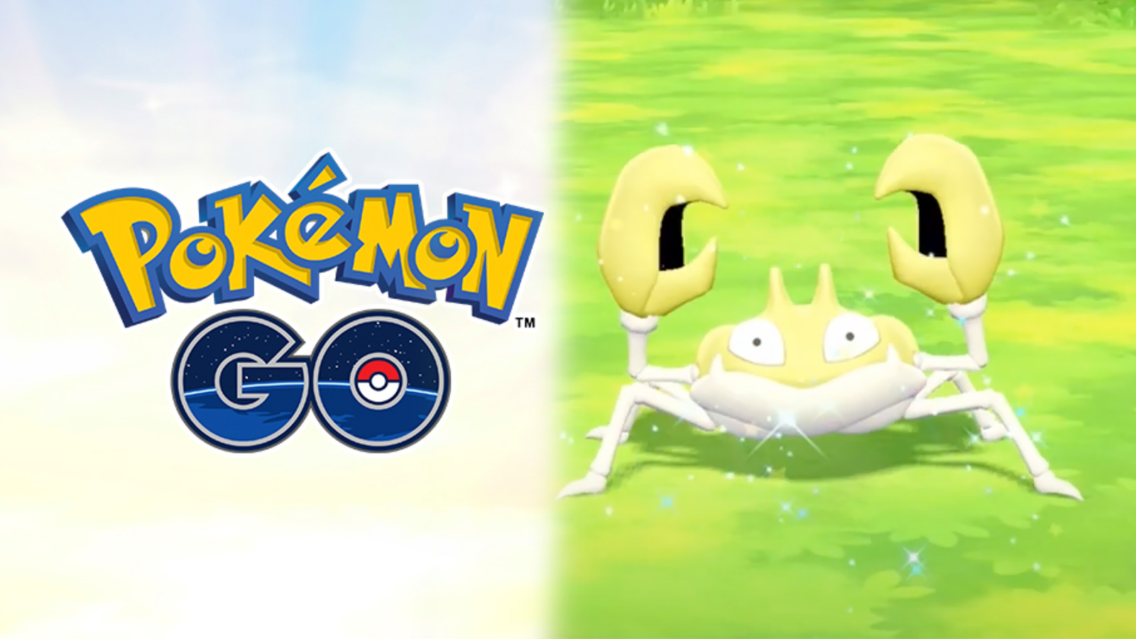 Screenshot of Pokemon Go logo next to Shiny Krabby in Lets Go Pikachu.
