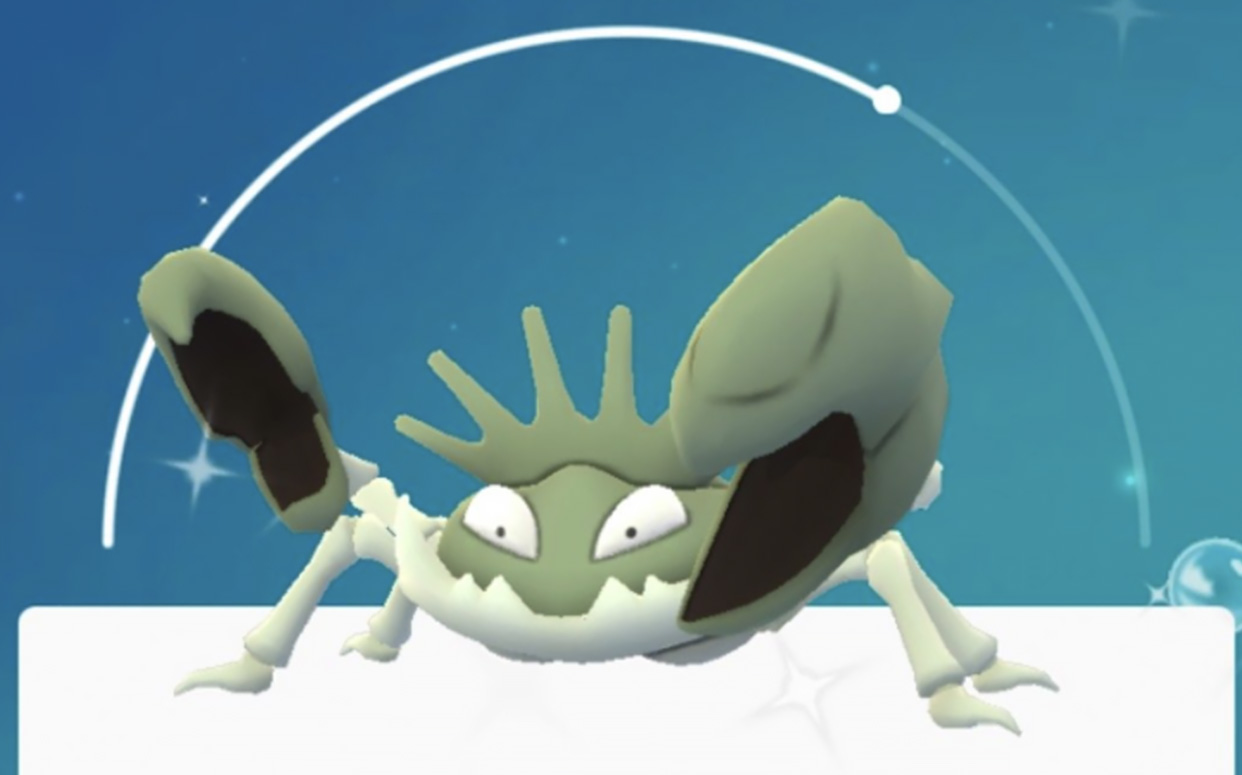 Screenshot of Shiny Krabby in Pokemon Go.