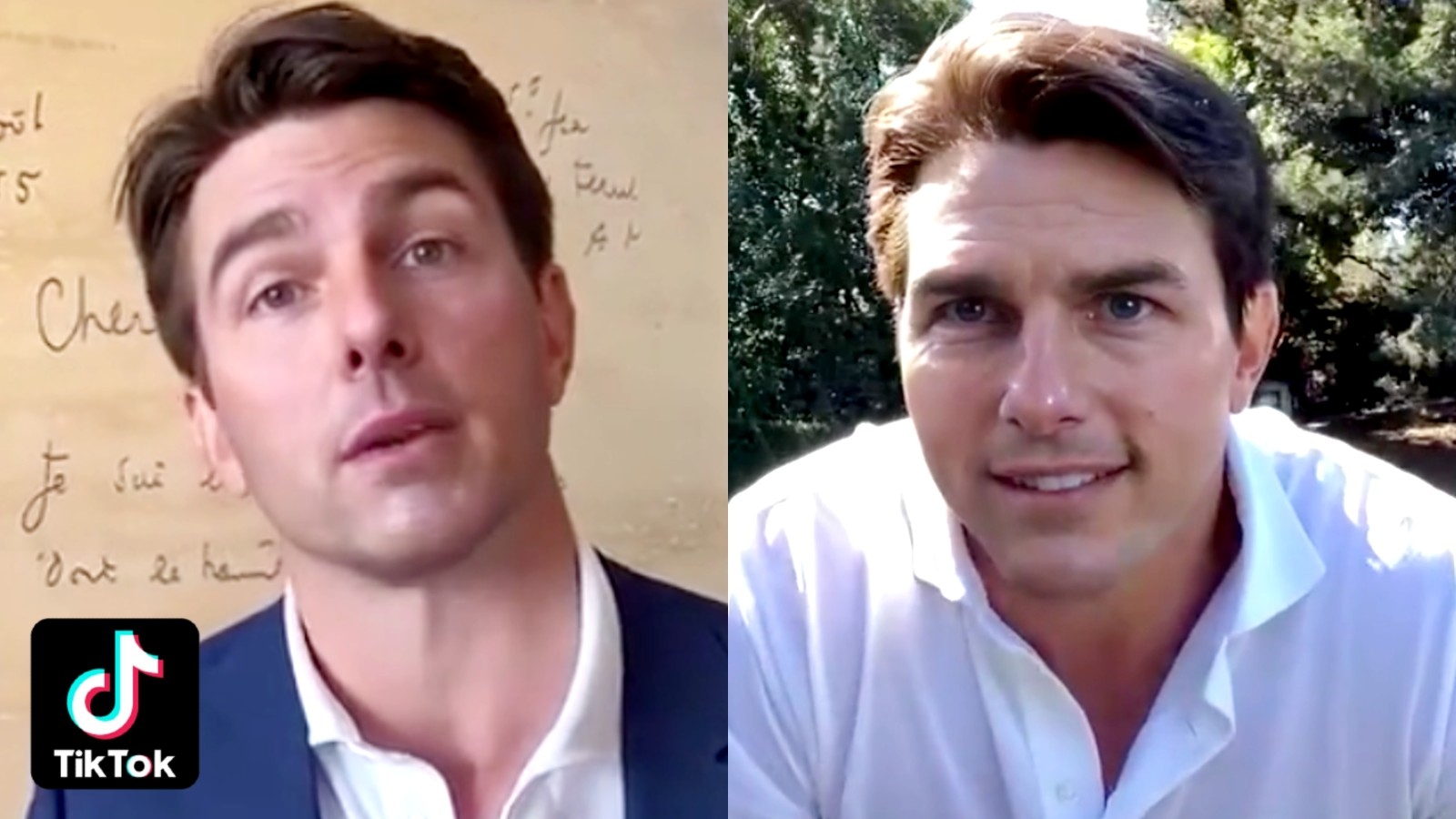 Viral Tom Cruise deepfake screenshots side by side