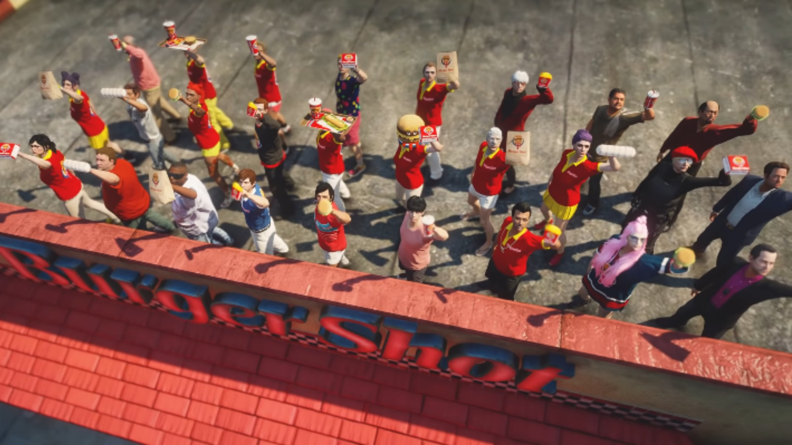 GTA NoPixel RP BurgerShot employees on rooftop for anime