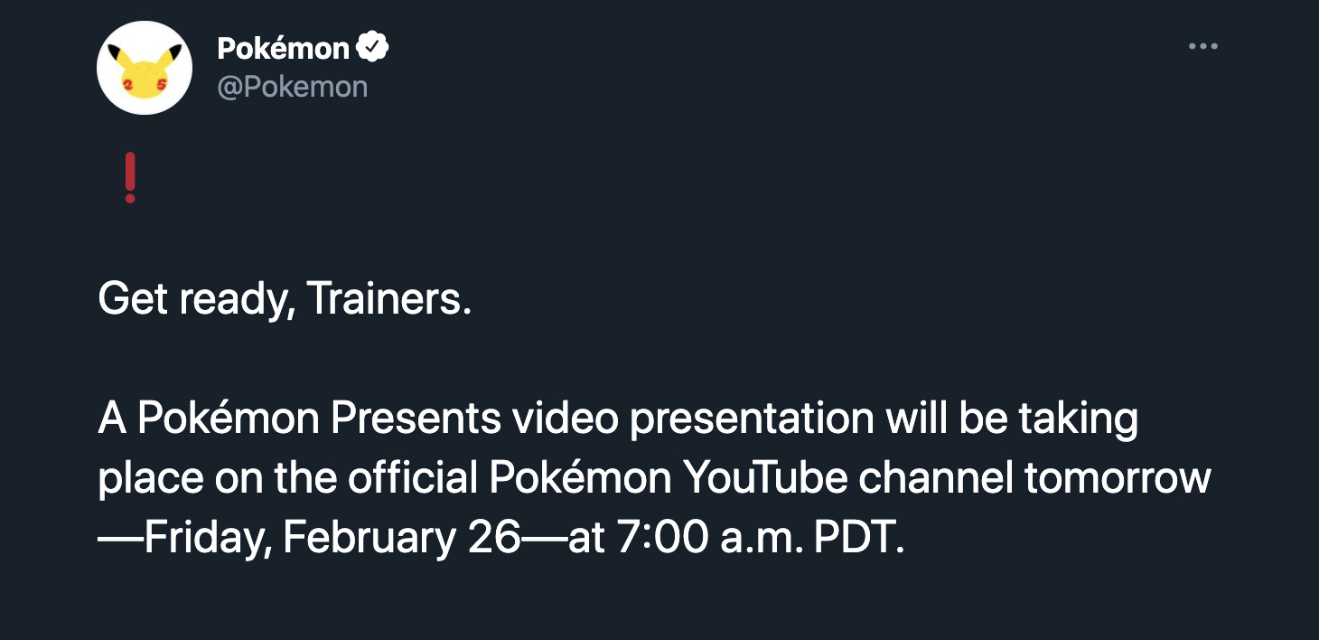 Screenshot of Pokemon Presents Twitter announcement.