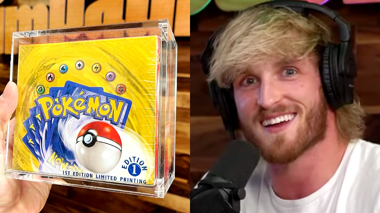 Logan Paul next to Pokemon card box