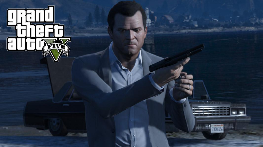 Michael from GTA 5 reloading a gun