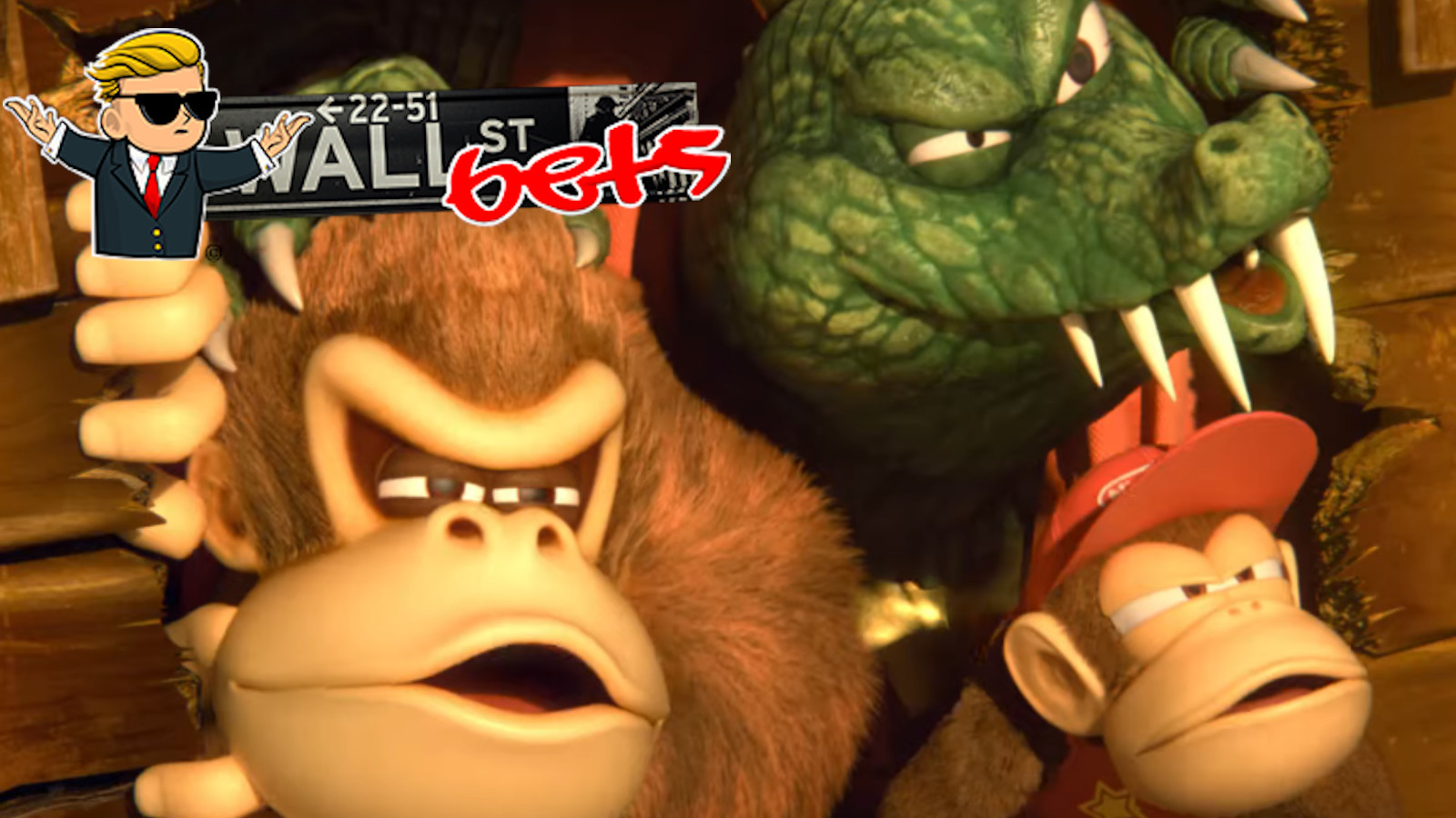 Donkey Kong and Diddy Kong look on suspeciusly