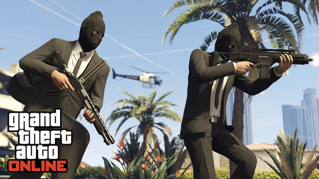 GTA Online characters running around in masks