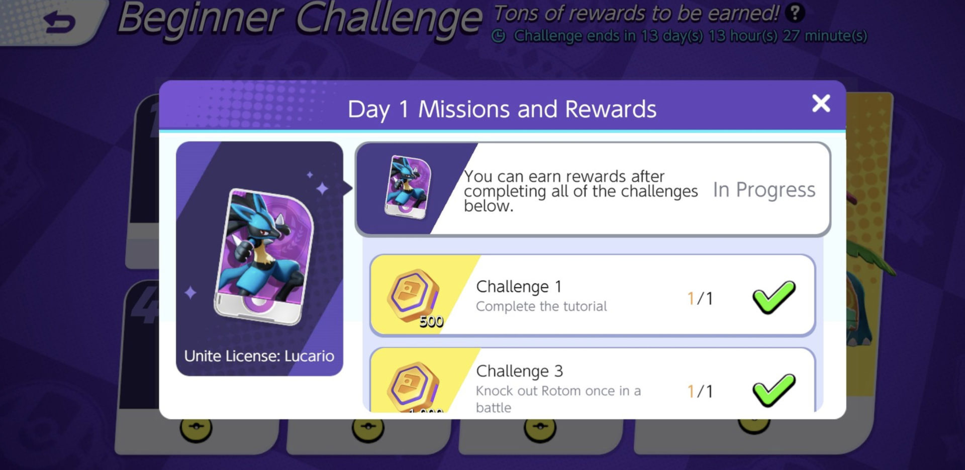 Screenshot of Pokemon Unite challenge screen.