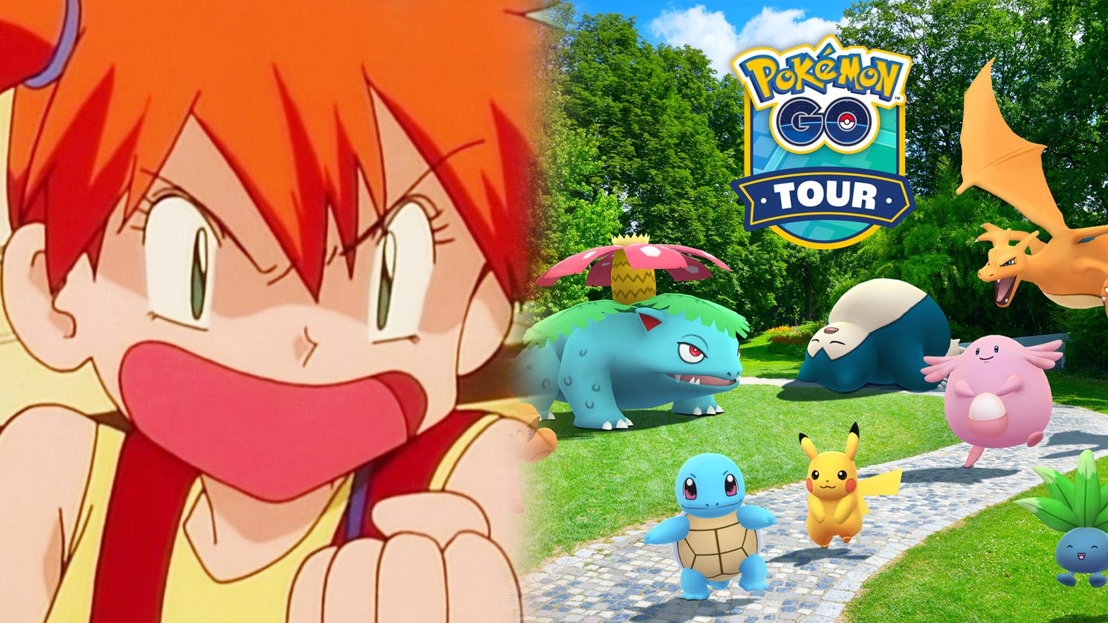 Screenshot of angry Misty from Pokemon anime next to Pokemon Go Kanto Tour promotion.