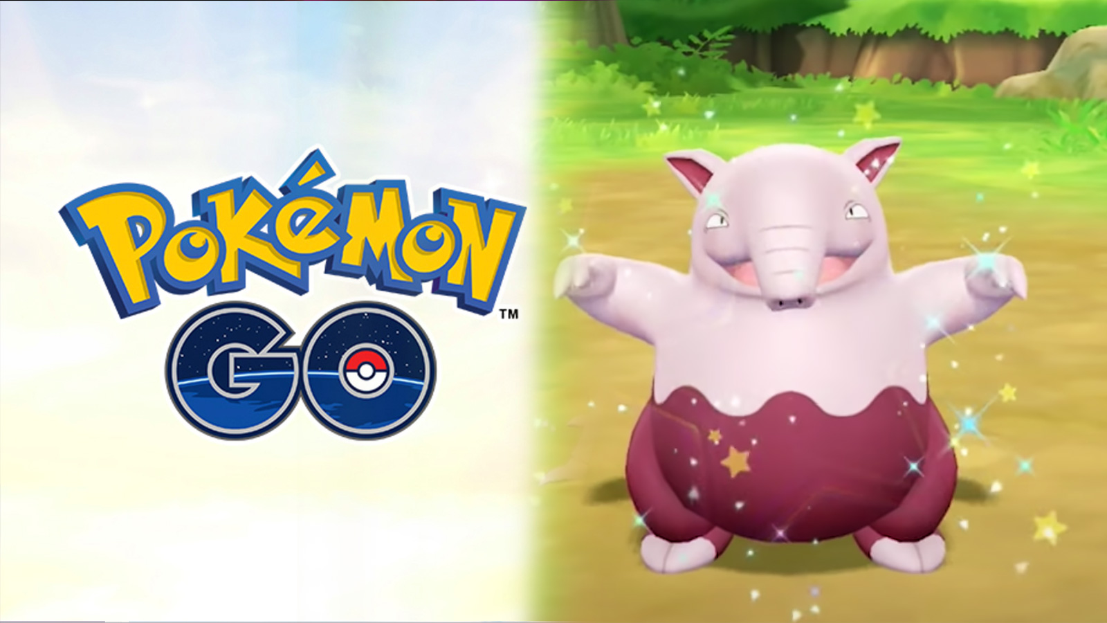 Screenshot of Pokemon Go logo next to Shiny Drowzee in Pokemon Let's Go Pikachu.