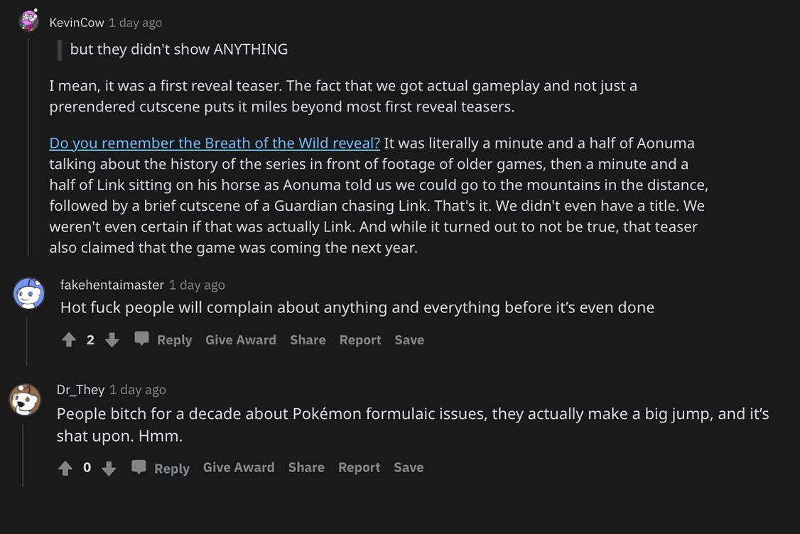 Capture d'écran de fans de Pokemon défendant la première bande-annonce de Pokemon Legends: Arceus.