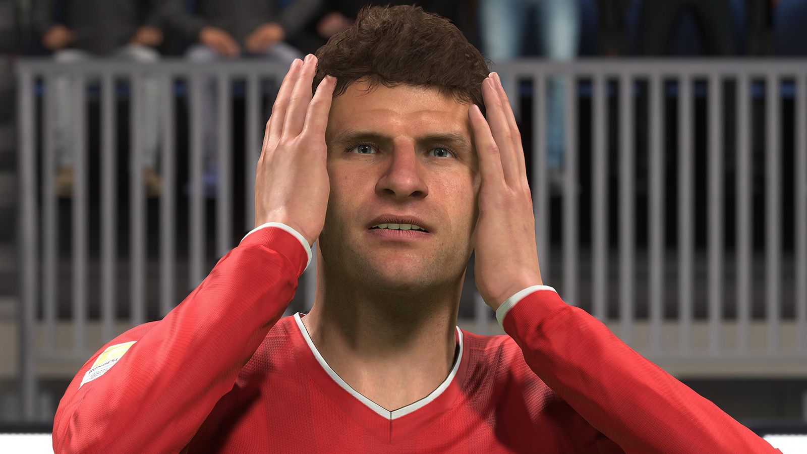 Thomas Muller hands on head in FIFA 21 Ultimate Team after lawsuit scripting.