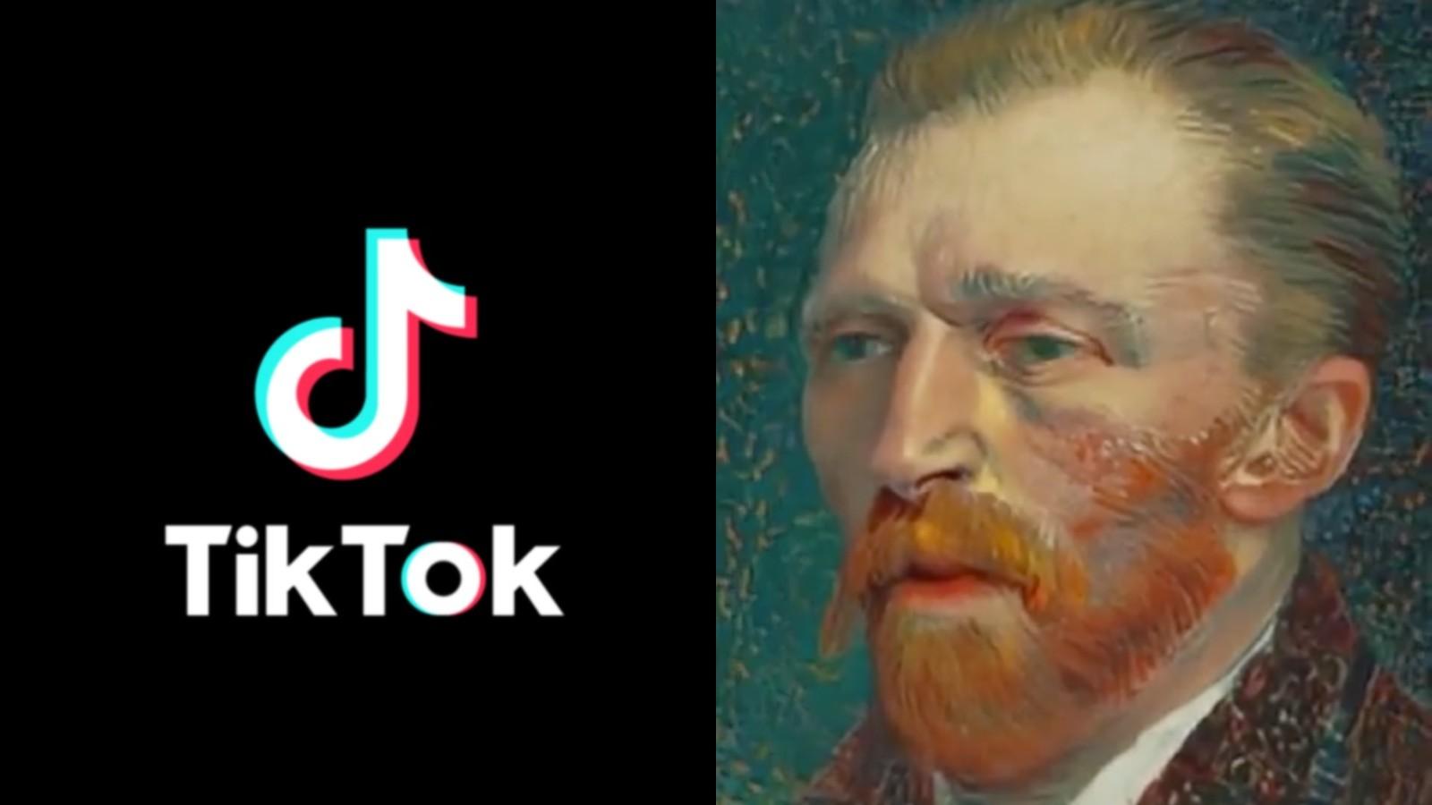 TikTok logo next to a painting