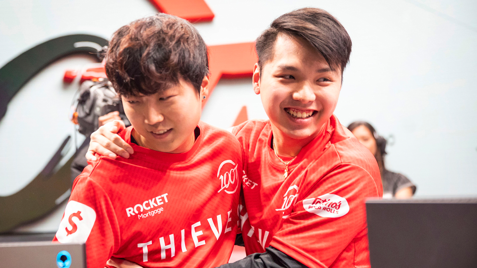 Ryoma and Ssumday celebrate after 100 Thieves LCS win.