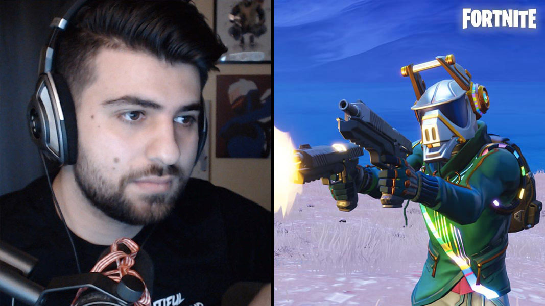SypherPK and a Fortnite character with two guns