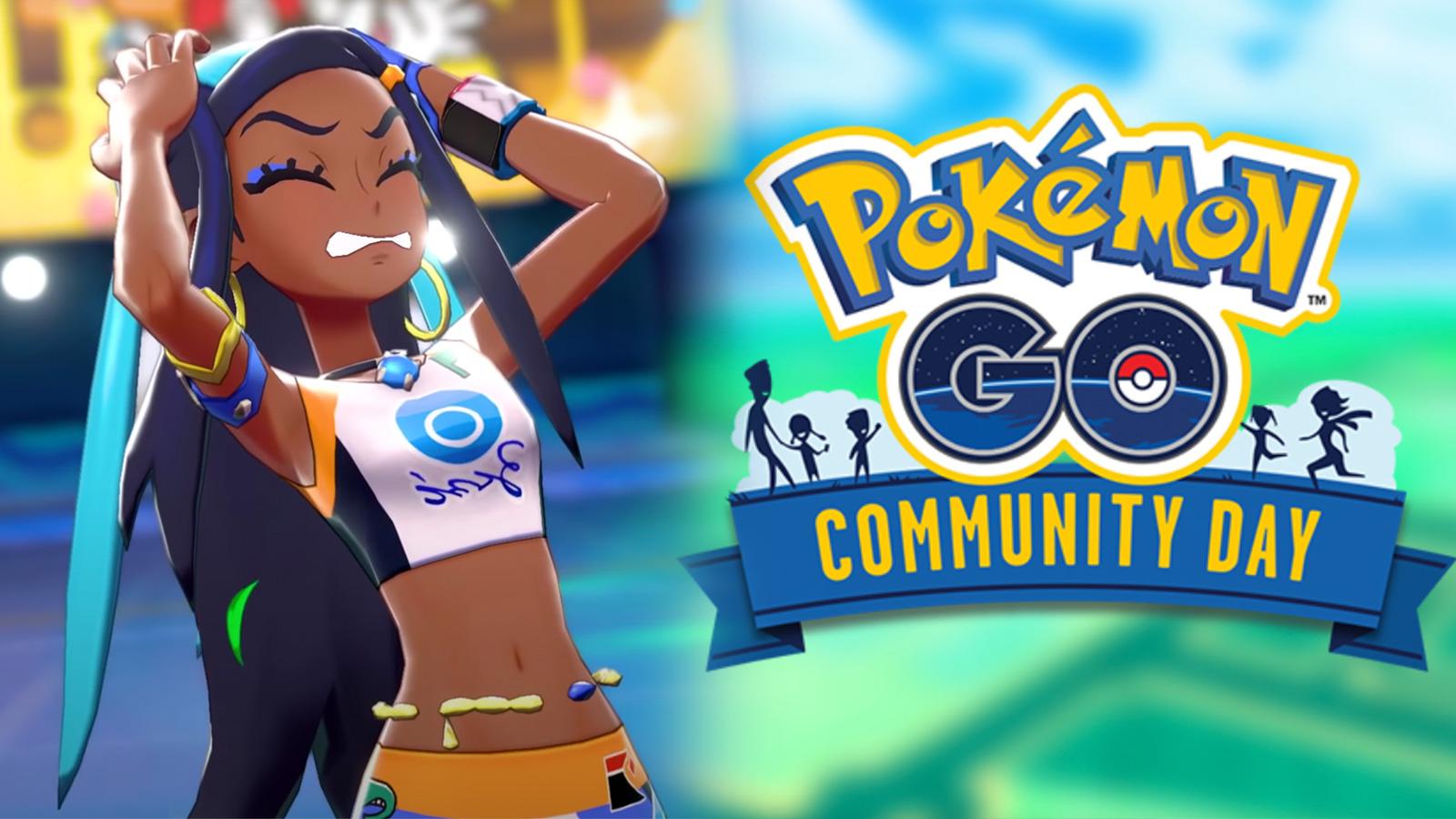 Screenshot of Pokemon Sword & Shield gym leader Nessa angry next to Pokemon Go Community Day logo.