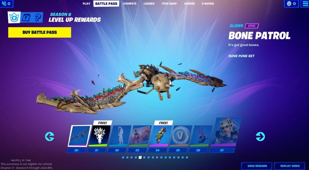 Fortnite Season 6 Battle Pass tier rewards
