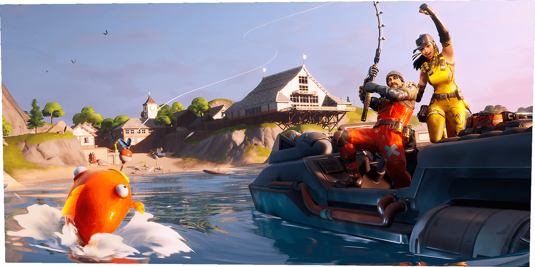 Fortnite characters fishing