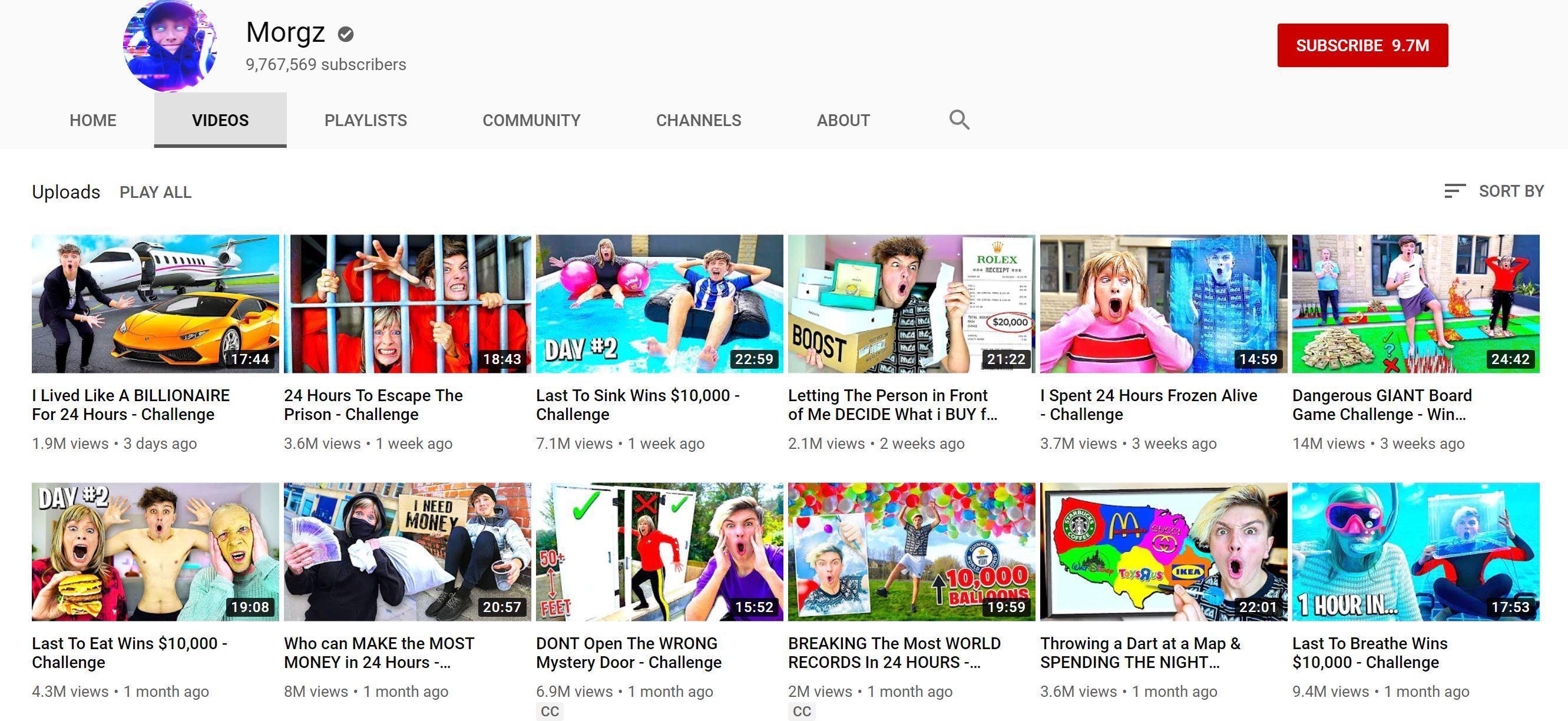 Morgz, YouTube