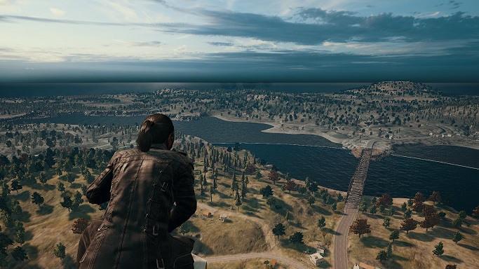 PUBG player looking across Erangel map