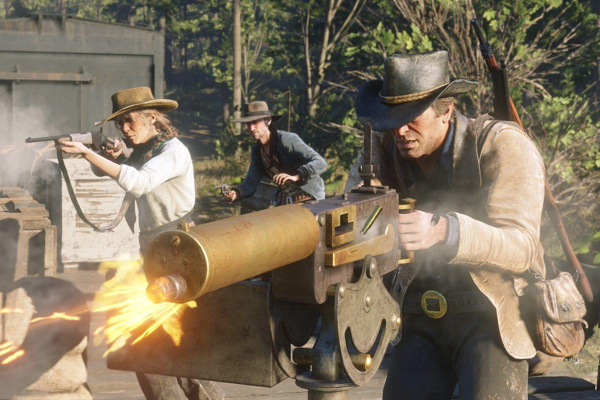 An image of characters from Red Dead Redemption taking part in a gunfight.