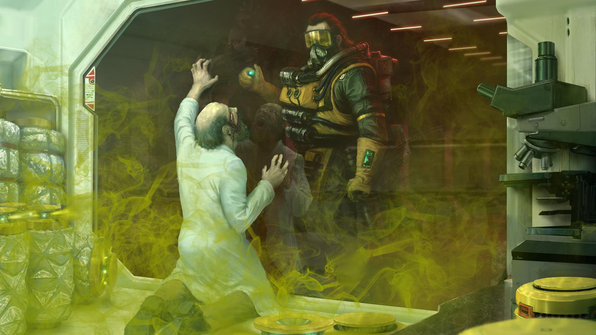 Caustic using Caustic Gas in Apex Legends artwork