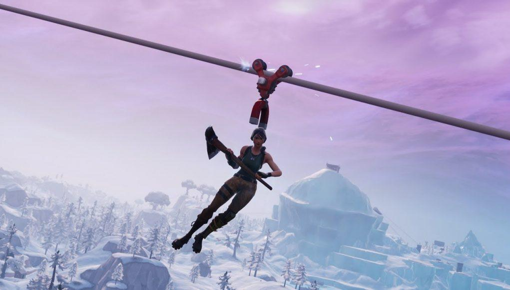 An image of a Fortnite character using a zip line.