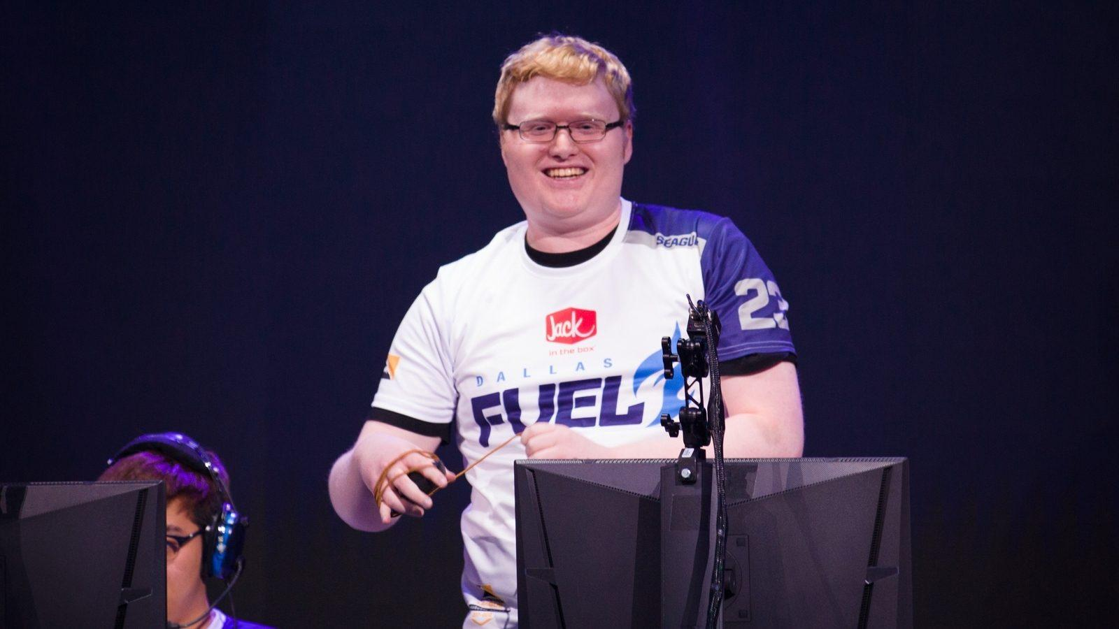 Seagull smiles after finishing a match in the Overwatch League with Dallas Fuel.