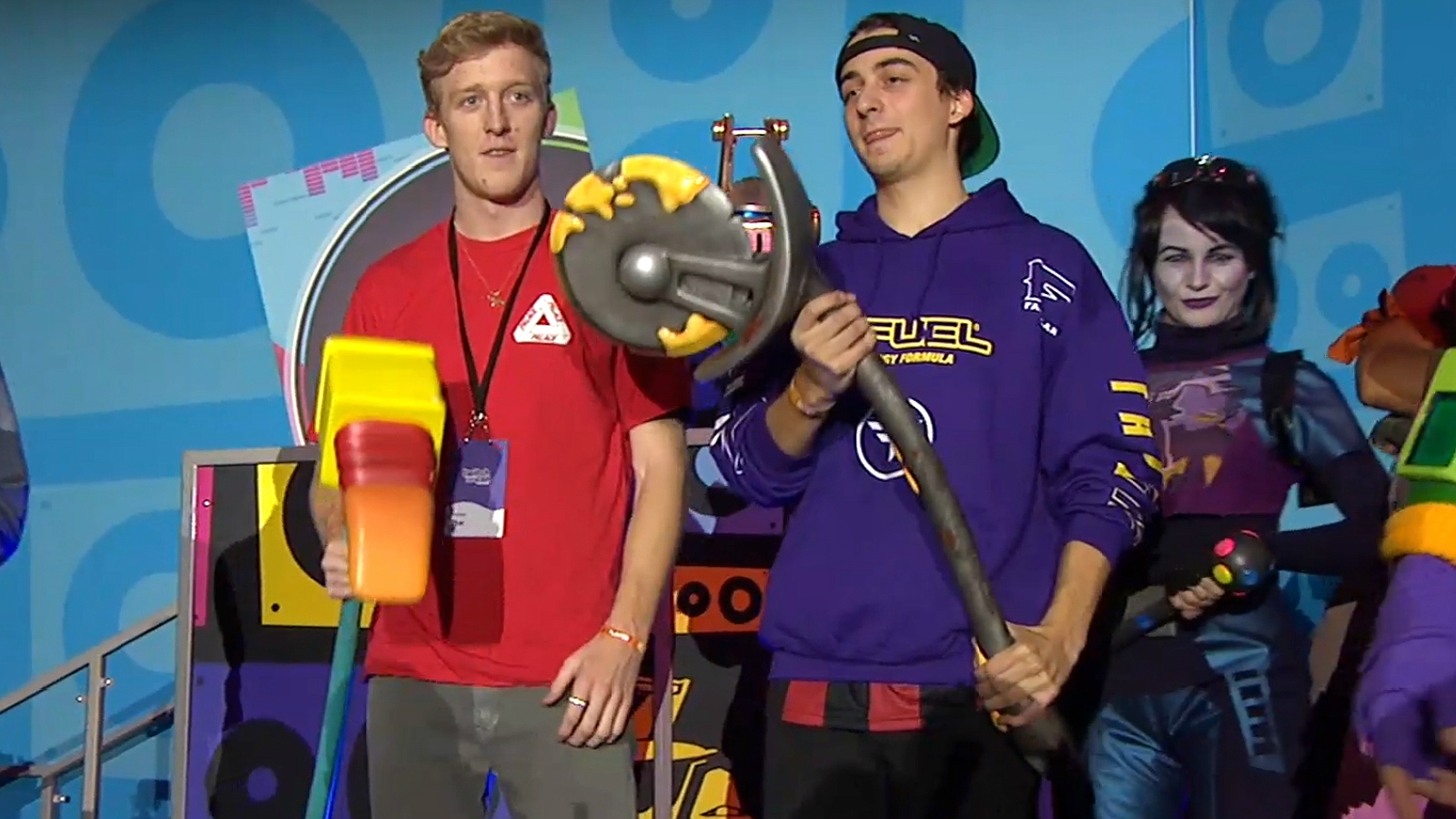 Tfue and Cloak after winning a Fortnite tournament.