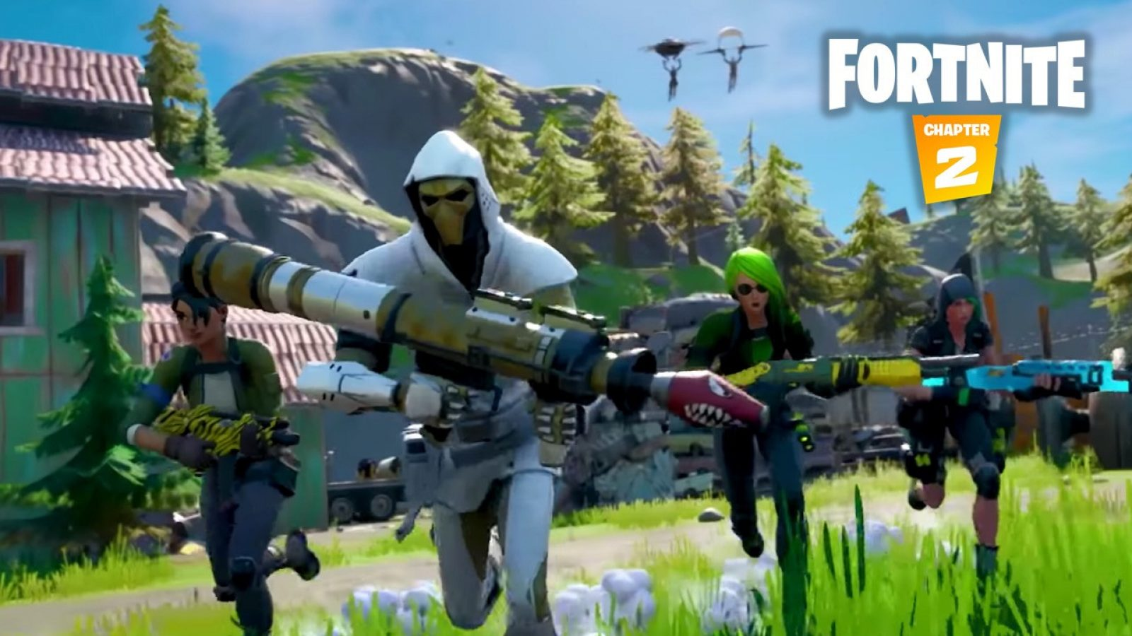 Fortnite players running with weapons