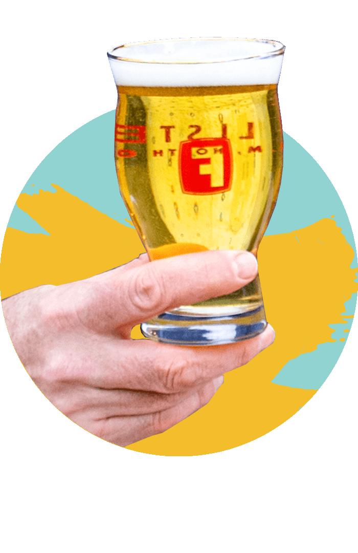 A glass of Fullsteam beer
