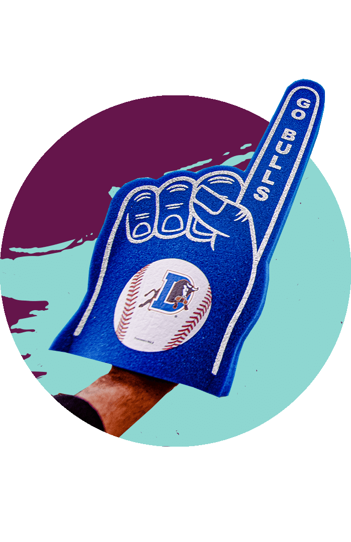 Showing pride with a Durham Bulls foam hand