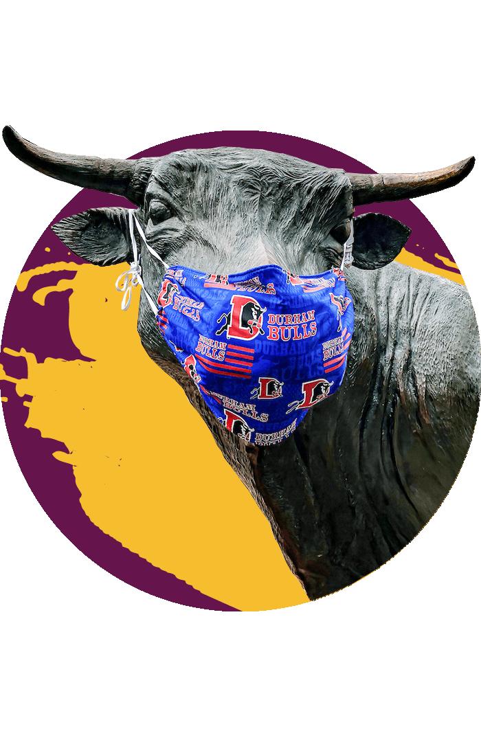 Major the Bull statue wearing a Durham Bulls face mask