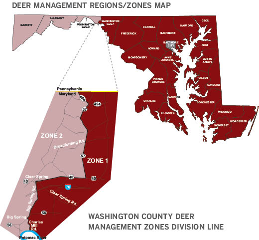 Map of Deer management regions A and B