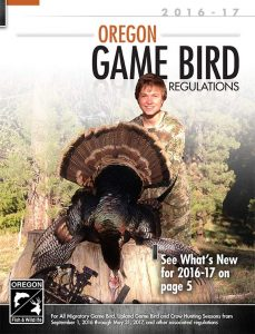 Oregon Game Bird Regulations 2016-2017 cover