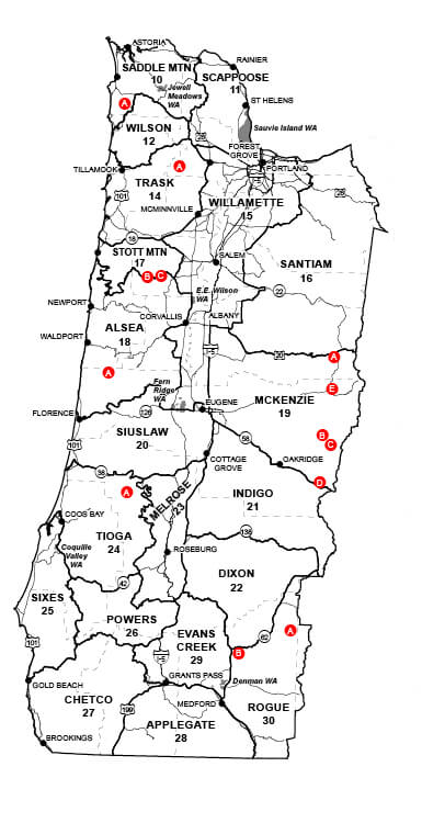 Western Oregon Unit Map Oregon Hunting Seasons Regulations - Oragon map