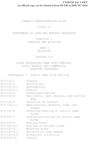 Hawaii Hunting Regulations Cover