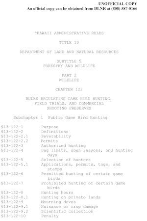 Hawaii Hunting Regulations Cover