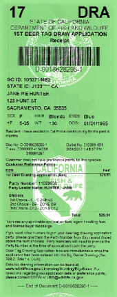 Big game drawing info california big game hunting for California fishing license 2017
