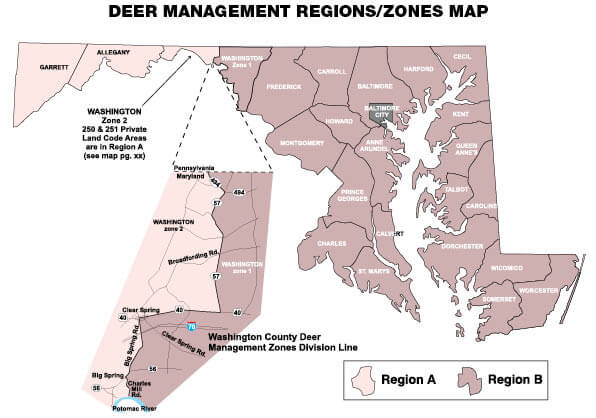 Map of Deer Management Regions and Zones